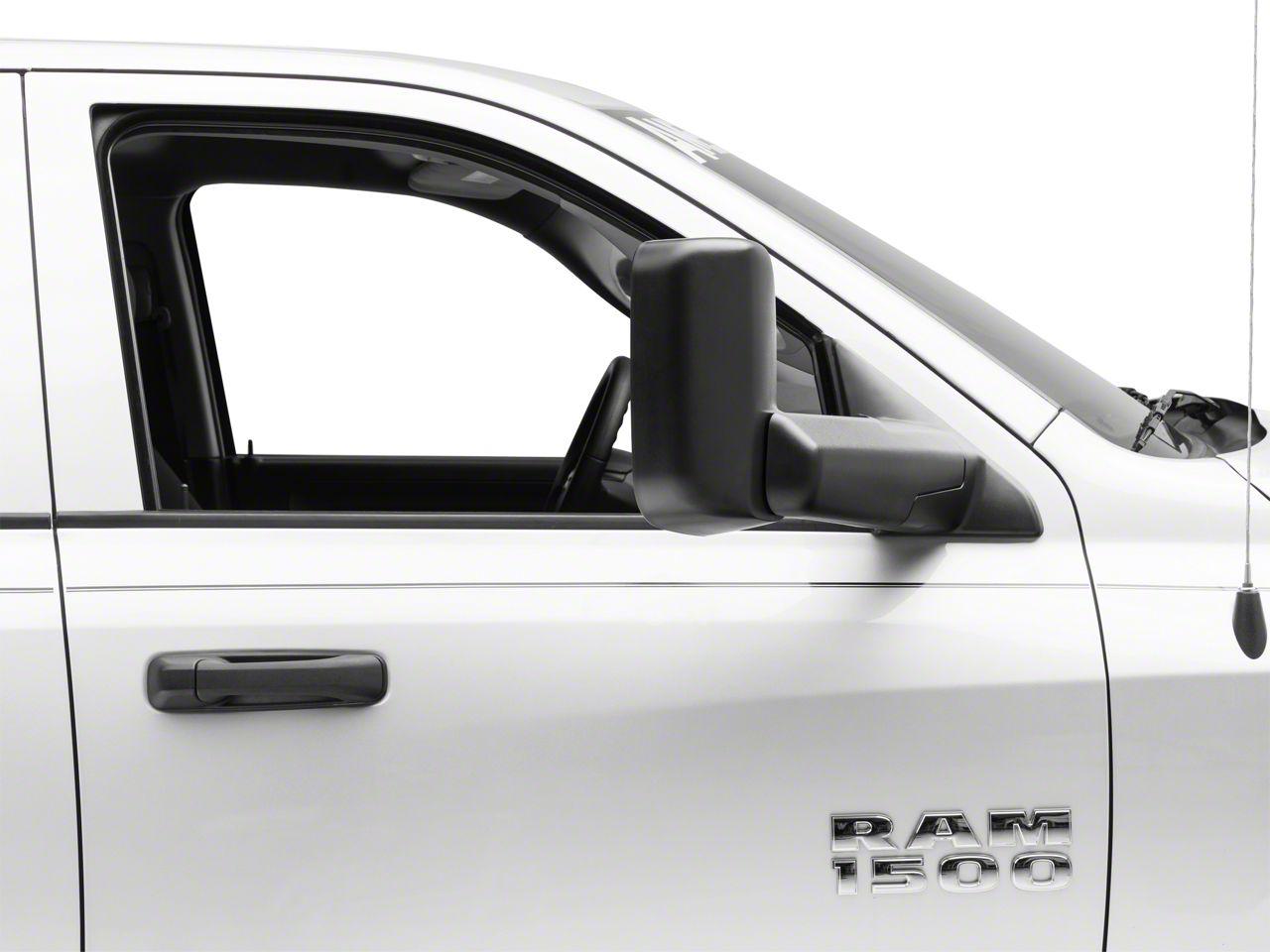 OPR Manual Foldaway Flip-Up Towing Mirror w/ Temp Sensor - Textured Black (13-18 RAM 1500)