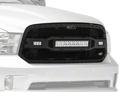 Westin HDX LED Upper Replacement Grille - Textured Black (13-18 RAM 1500, Excluding Rebel)