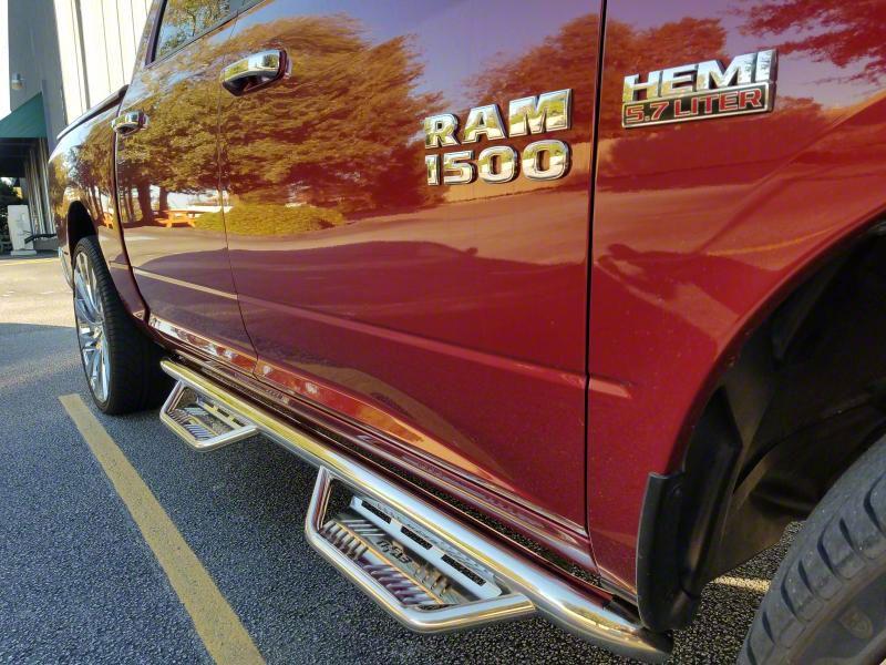 N-Fab Cab Length Podium Nerf Side Step Bars - Polished Stainless (09-18 RAM 1500 Quad Cab)