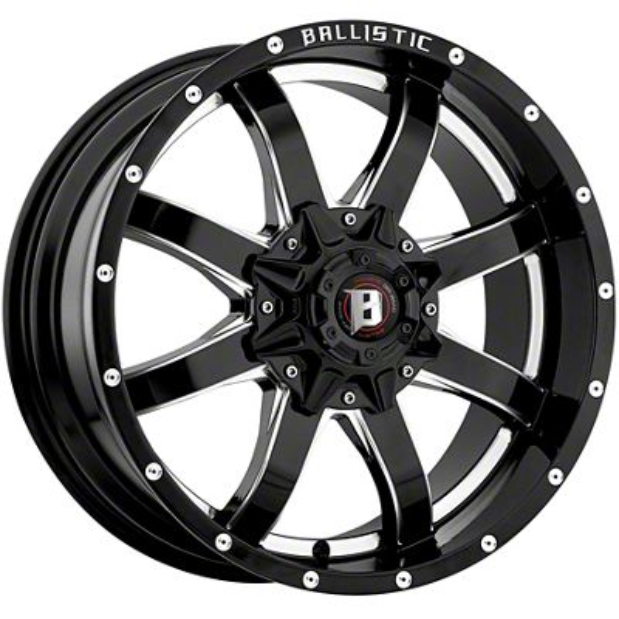 Ballistic Anvil Gloss Black Milled 5-Lug Wheel - 18x9 (02-18 RAM 1500, Excluding Mega Cab)