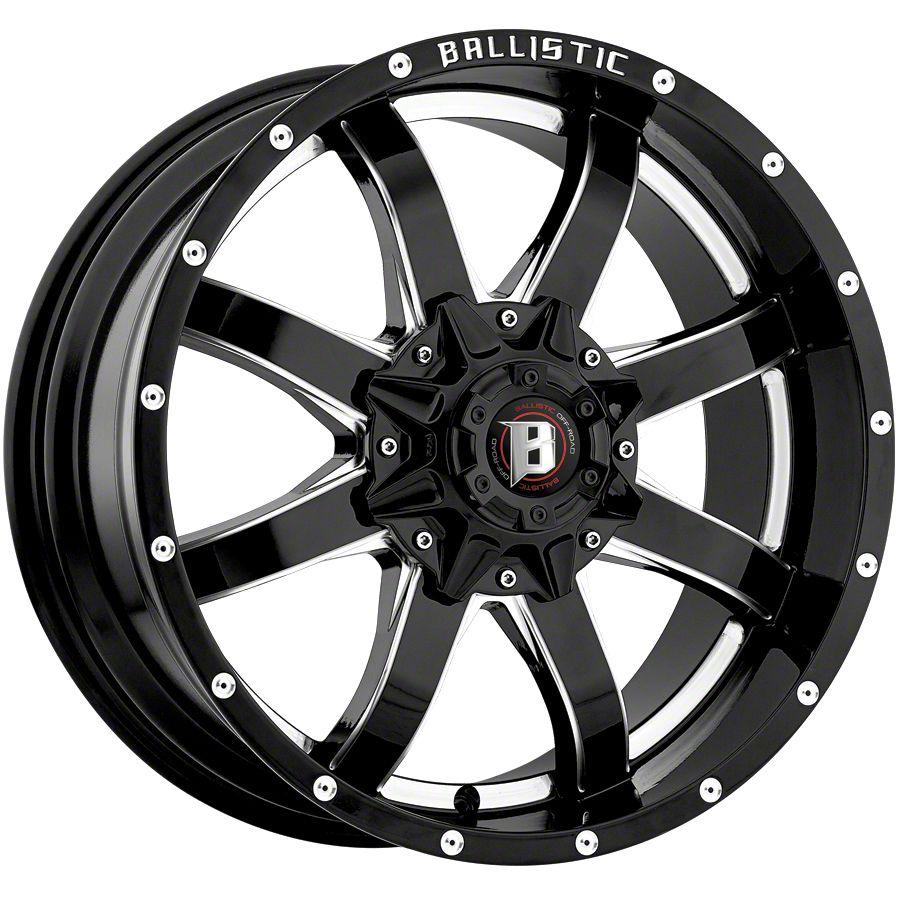 Ballistic Anvil Gloss Black Milled 5-Lug Wheel - 20x9 (02-18 RAM 1500, Excluding Mega Cab)