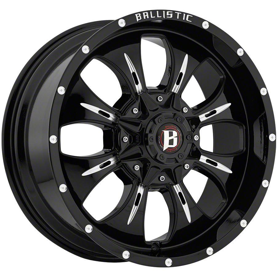 Ballistic Dagger Gloss Black Milled 5-Lug Wheel - 20x9 (02-18 RAM 1500, Excluding Mega Cab)