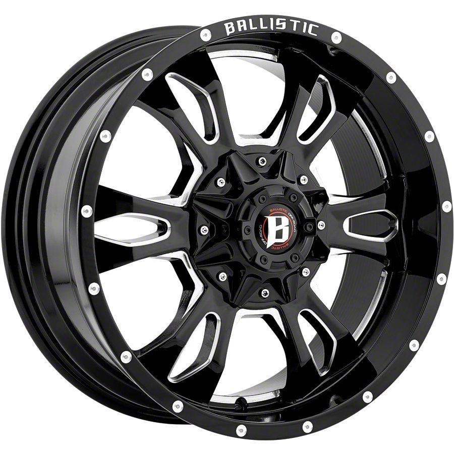 Ballistic Mace Gloss Black Milled 5-Lug Wheel - 20x9 (02-18 RAM 1500, Excluding Mega Cab)