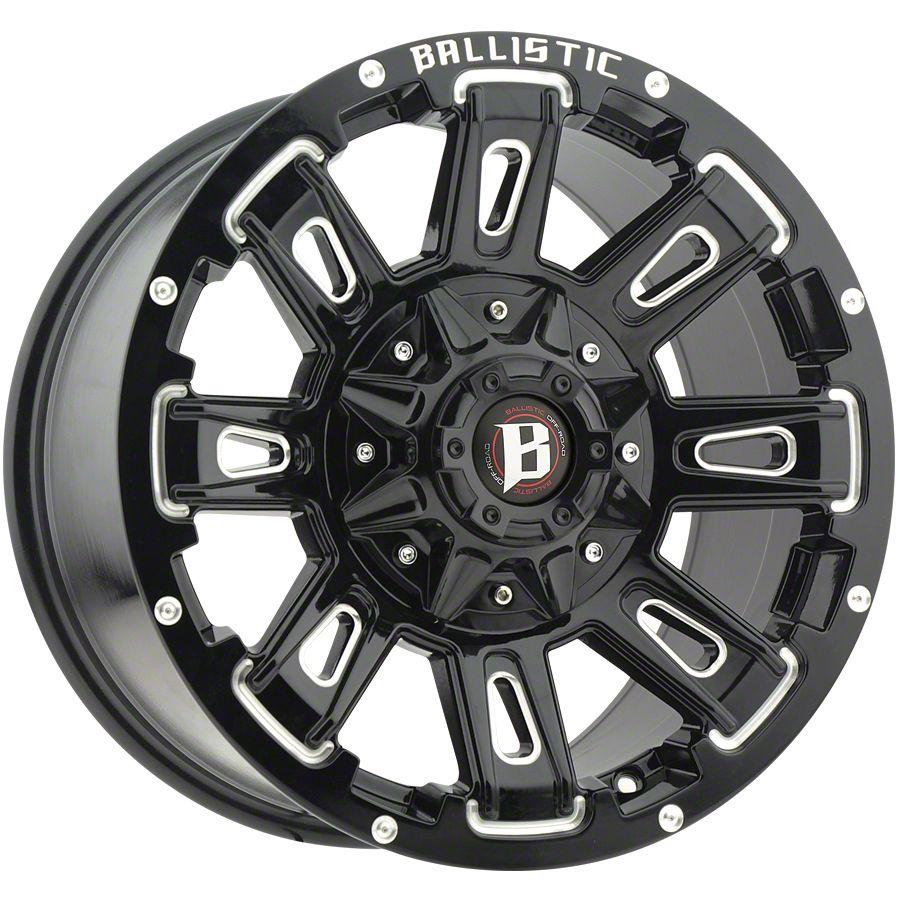 Ballistic Ravage Gloss Black Milled 5-Lug Wheel - 22x9.5 (02-18 RAM 1500, Excluding Mega Cab)