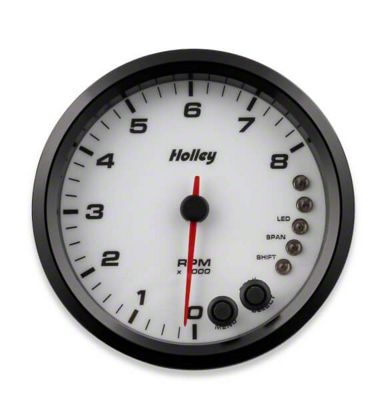 Holley Performance 4.5 in. Analog-Style 0-8K Tachometer - White (02-19 RAM 1500)
