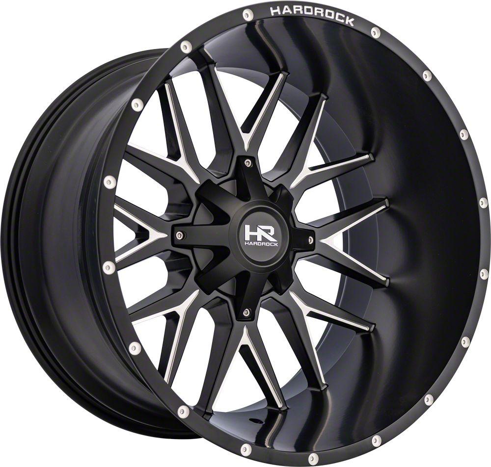 Hardrock Offroad H700 AFFLICTION Black Milled 8-Lug Wheel - 24x14 (06-08 RAM 1500 Mega Cab)