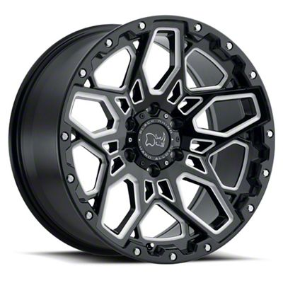 Black Rhino Shrapnel Gloss Black Milled 5-Lug Wheel - 17x9.5 (02-18 RAM 1500, Excluding Mega Cab)