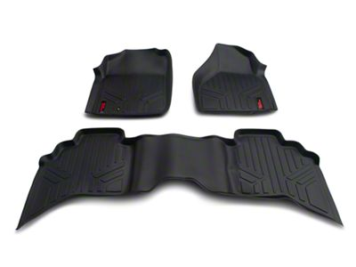 Rough Country Heavy Duty Front & Rear Floor Mats - Black (02-08 RAM 1500 Quad Cab)