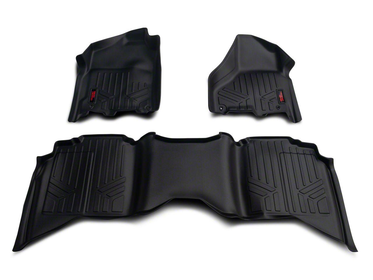 Rough Country Heavy Duty Front & Rear Floor Mats - Black (12-18 RAM 1500 Quad Cab, Crew Cab)