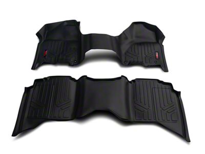 Rough Country Heavy Duty Front & Rear Floor Mats - Over The Hump - Black (12-18 RAM 1500 Quad Cab, Crew Cab)