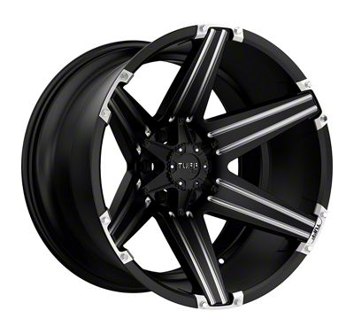 Tuff A.T. T12 Satin Black Milled w/ Brushed Inserts 6-Lug Wheel - 22x12 (2019 RAM 1500)