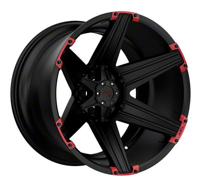 Tuff A.T. T12 Satin Black w/ Red Inserts 6-Lug Wheel - 22x12 (2019 RAM 1500)