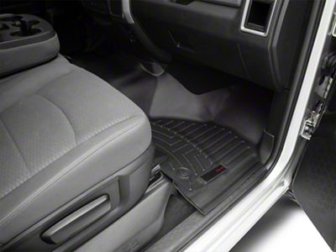 Weathertech DigitalFit Front & Rear Floor Liners - Over The Hump - Black (12-18 RAM 1500 Crew Cab w/ Vinyl Floors)