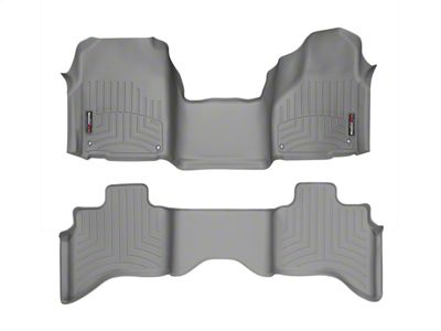 Weathertech DigitalFit Front & Rear Floor Liners - Over The Hump - Gray (12-18 RAM 1500 Quad Cab)