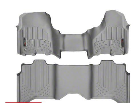 Weathertech DigitalFit Front & Rear Floor Liners - Over The Hump - Gray (12-18 RAM 1500 Crew Cab)