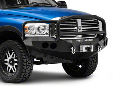 Road Armor Stealth Winch Front Bumper w/ Lonestar Guard & Round Light Mounts - Satin Black (06-08 RAM 1500)