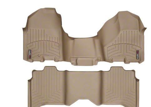 Weathertech DigitalFit Front & Rear Floor Liners - Over The Hump - Tan (09-12 RAM 1500 Crew Cab)