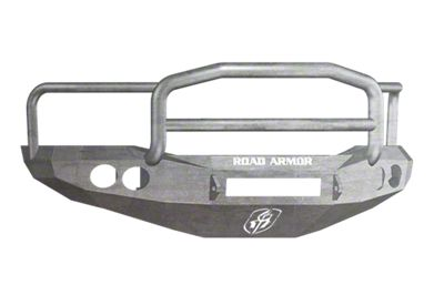 Road Armor Stealth Non-Winch Front Bumper w/ Lonestar Guard & Round Light Mounts - Raw (06-08 RAM 1500)