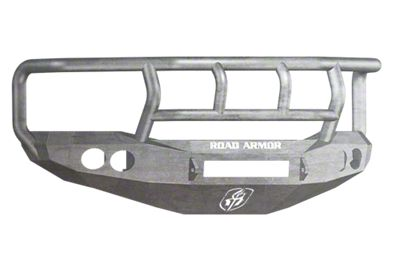 Road Armor Stealth Non-Winch Front Bumper w/ Titan II Guard & Round Light Mounts - Raw (06-08 RAM 1500)