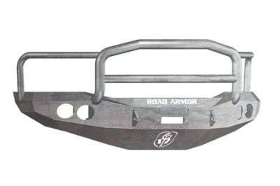 Road Armor Stealth Winch Front Bumper w/ Lonestar Guard & Round Light Mounts - Raw (06-08 RAM 1500)