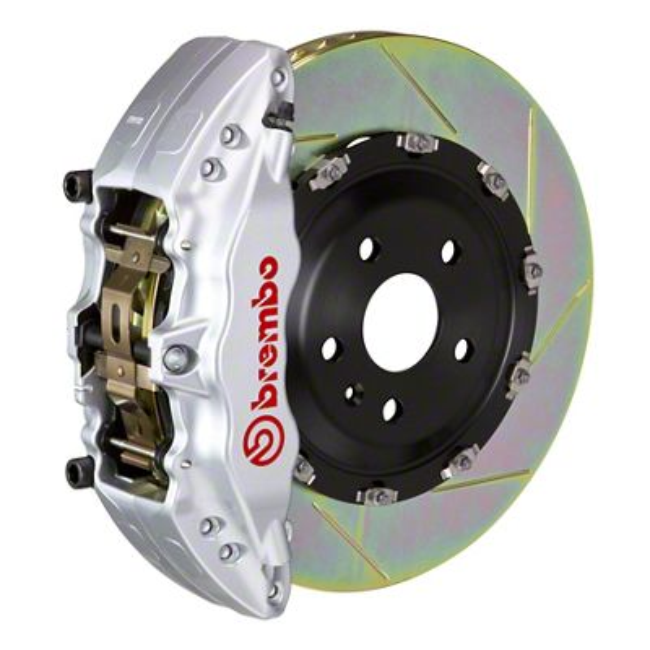 Brembo GT Series 6-Piston Front Brake Kit - 2-Piece Slotted Rotors - Silver (00-06 Silverado 1500)