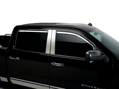 Putco Element Chrome Window Visors - Channel Mount - Fronts Only (14-18 Silverado 1500 Double Cab, Crew Cab)