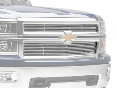 Liquid Billet Upper Replacement Grilles w/ Logo Cutout - Polished (14-15 Silverado 1500 High Country, LTZ)