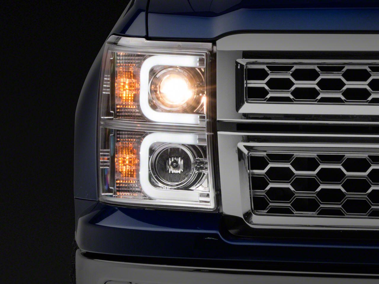 Axial Chrome Projector Headlights w/ Light Bar Daytime Running Lights (14-15 Silverado 1500)