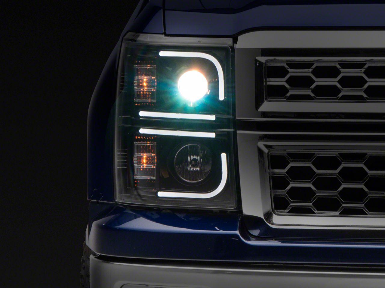 Recon Black Projector Headlights w/ OLED Halos & Daytime Running Lights - Smoked Lens (14-15 Silverado 1500)