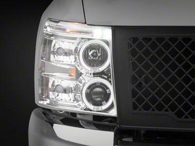 Axial Chrome Dual Halo Projector Headlights w/ LED Accent Lights (07-13 Silverado 1500)