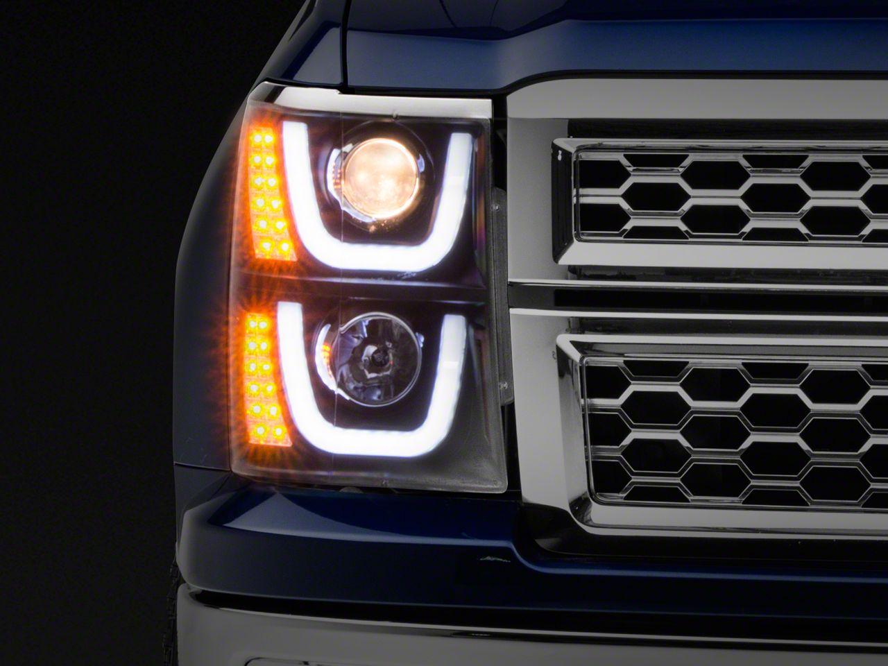Axial Black Dual U-Bar Halo Projector Headlights w/ LED Turn Signals (14-15 Silverado 1500)