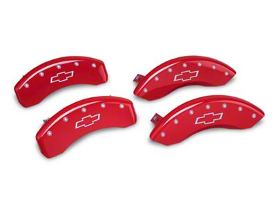 MGP Red Caliper Covers w/ Bowtie Logo - Front & Rear (14-18 Silverado 1500)