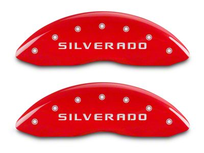 MGP Red Caliper Covers w/ Silverado Logo - Front & Rear (14-18 Silverado 1500)