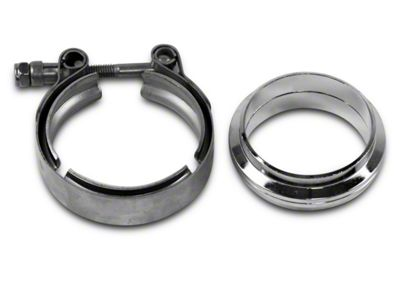 GMS 2.5 in. Mating Flat Flange w/ V-Band Exhaust Clamp - Stainless Steel (99-19 Silverado 1500)