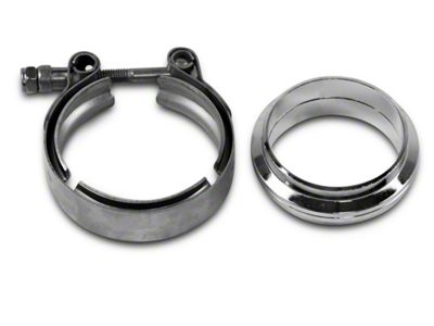 GMS 2.5 in. Mating Flat Flange w/ V-Band Exhaust Clamp - Mild Steel (99-19 Silverado 1500)