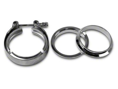 GMS 3 in. Mating Male to Female Interlocking Flange w/ V-Band Exhaust Clamp - Stainless Steel (99-18 Silverado 1500)