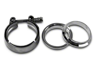 GMS 3 in. Interlocking Flange w/ V-Band Exhaust Clamp - Mild Steel (99-18 Silverado 1500)