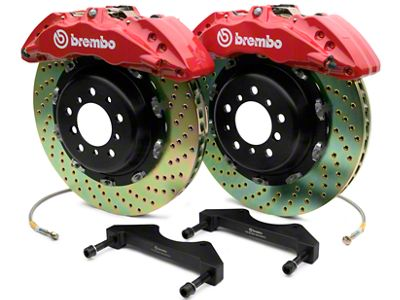 Brembo GT Series 6-Piston Front Brake Kit - 2-Piece Cross Drilled Rotors - Red (07-18 Silverado 1500)