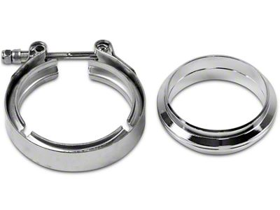 GMS 3 in. Mating Flat Flange w/ V-Band Exhaust Clamp - Stainless Steel (99-19 Silverado 1500)