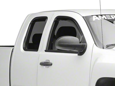 Weathertech Front & Rear Side Window Deflectors - Dark Smoke (07-13 Silverado 1500 Extended Cab, Crew Cab)