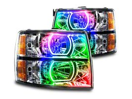Oracle Black OE Style Headlights w/ ColorSHIFT Square Ring LED Halos (07-13 Silverado 1500)