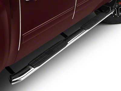 Barricade Pinnacle 4 in. Oval Bent Side Step Bars - Polished Stainless - Body Mount (07-13 Silverado 1500 Extended Cab, Crew Cab)