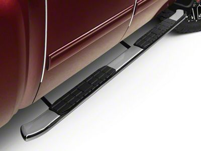 Barricade Pinnacle 4 in. Oval Bent Side Step Bars - Polished Stainless - Rocker Panel Mount (07-13 Silverado 1500 Extended Cab, Crew Cab)