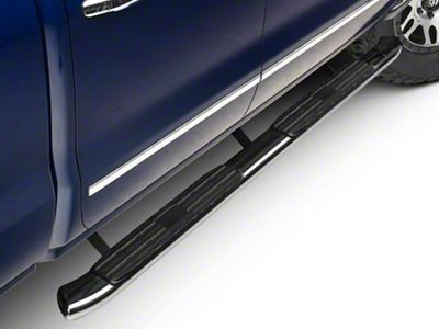 Barricade Pinnacle 4 in. Oval Bent Rocker Mount Side Step Bars - Polished Stainless (14-18 Silverado 1500 Double Cab, Crew Cab)