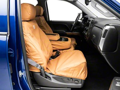 Covercraft Front Row SeatSaver Seat Covers - Carhartt Brown (07-18 Silverado 1500 w/ Bench Seat)