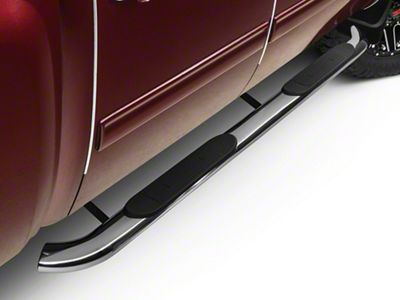 Barricade 4 in. Oval Bent End Rocker Mount Side Step Bars - Stainless Steel (07-13 Silverado 1500)