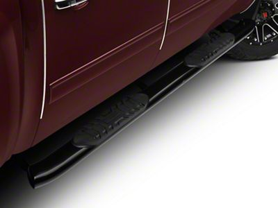 Barricade 5 in. Oval Bent End Body Mount Side Step Bars - Black (07-13 Silverado 1500)