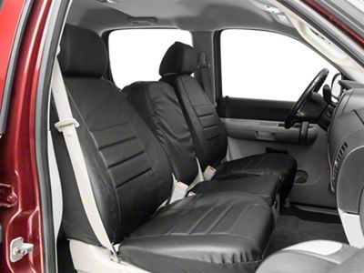 Fia Custom Fit Leatherlite Front Seat Covers - Black (07-13 Silverado 1500 w/ Bench Seat)