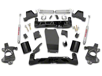 Rough Country 7.5 in. Suspension Lift Kit w/ Shocks (14-18 4WD Silverado 1500 w/ Stock Cast Steel or Aluminum Control Arms)