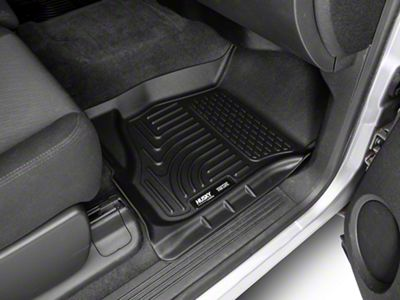 Husky WeatherBeater Front & 2nd Seat Floor Liners - Footwell Coverage - Black (07-13 Silverado 1500 Extended Cab, Crew Cab)